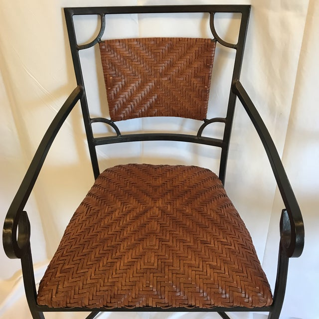Iron and Woven Leather Bar Stools - a Pair For Sale - Image 4 of 12