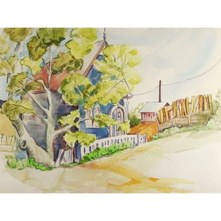 Virginia City Blue House Watercolor Painting For Sale