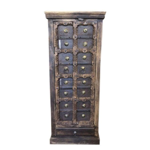Metal Antique Rustic Primitive Doors Storage Cabinet For Sale - Image 7 of 7