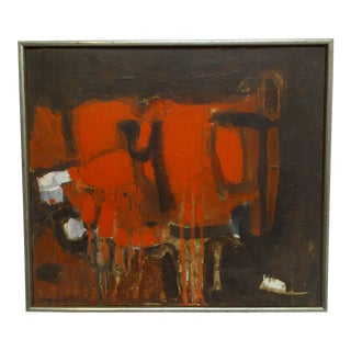 """""""Abstract Red"""" Signed Original Framed Painting on Board by Frederick McDuff"""