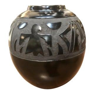Black Native American Pottery Vase Circa 1930 For Sale