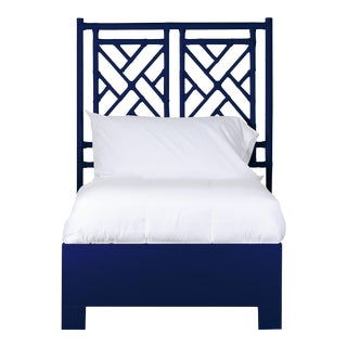 Chippendale Bed Twin Extra Long - Navy Blue For Sale