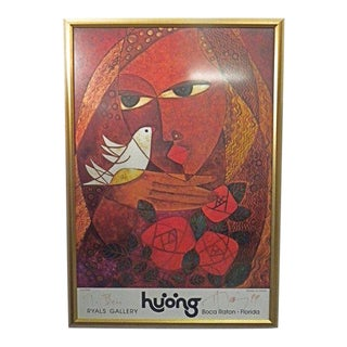 1970s Vintage Signed Love Roses Ryals Gallery Poster by Huong For Sale