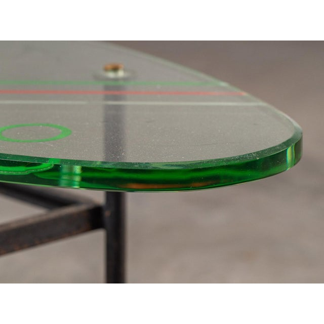 Vintage 1960s Italian Oval Coffee Table with Painted Glass Top For Sale In Houston - Image 6 of 13