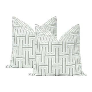 """22"""" Grecian Cut Velvet Spa Blue Pillows - a Pair For Sale"""
