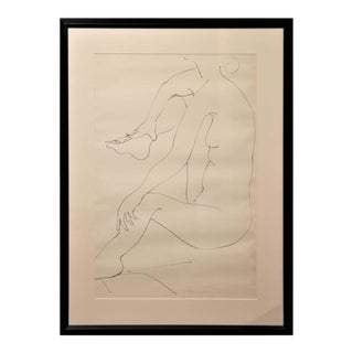 1960 Gertrude Barnstone Abstract Pen Contour Line Drawing Seated Female Nude With Knee Raised, Framed For Sale