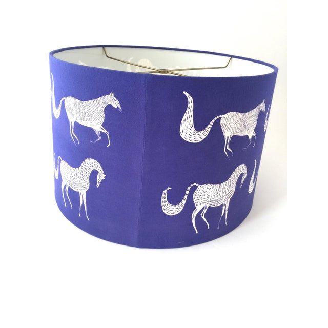 Vintage Blue Scalamandre Style Drum Lampshades With Lascaux Horse Design - a Pair For Sale - Image 10 of 12