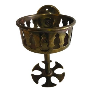 Early 20th Century Brass Wall Mount Cup and Brush Fixture For Sale