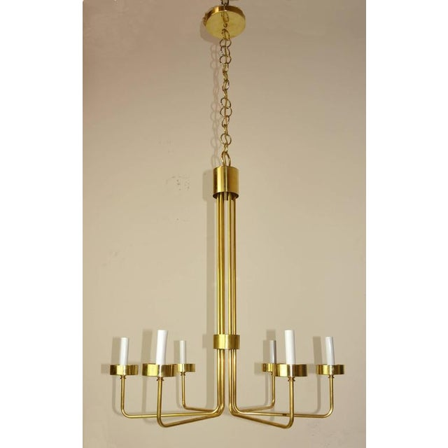 Contemporary Mid-Century Modern Brass Chandelier by Hart Associates LA For Sale - Image 3 of 6