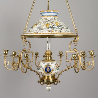 19th C. French Gien Oil Lamp Chandelier Preview