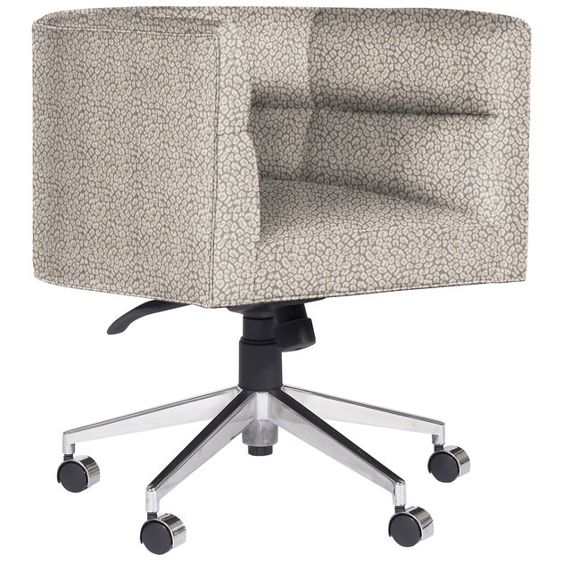 This desk chair features tight horizontal channel upholstery and a stainless steel base resting on casters. The seat is...