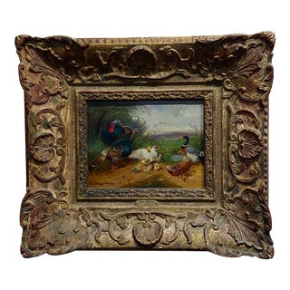 Max Hanger Sr. -Ducks, Geese and Turkeys in a Farm Landscape Oil Painting For Sale
