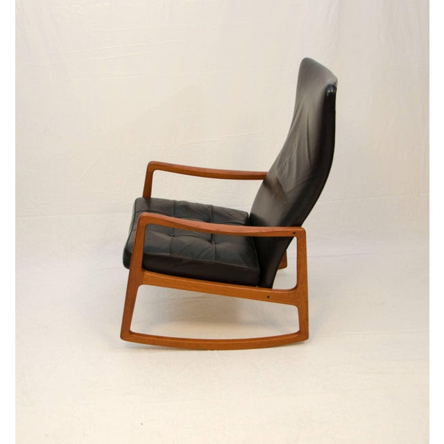 Wood Danish Teak and Leather High Back Rocking Chair by Ole Wanscher For Sale - Image 7 of 11