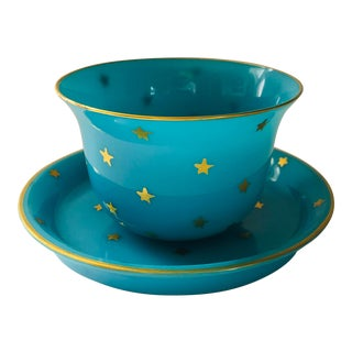 Vintage Portieux Vallerysthal Opaline Glass Gold Stars Cup and Saucer For Sale