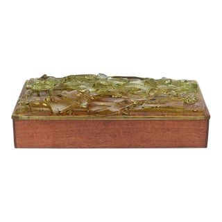 Mid-Century Wood & Fused Art Glass Higgins Style Box by Robert Brown