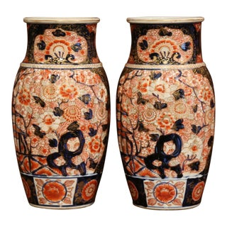Pair of 19th Century Chinese Porcelain Imari Vases With Floral Decor For Sale