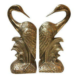 Vintage Brass Crane Bookends-a Pair For Sale