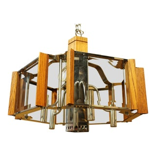 Fredrick Ramond Lighting Oak, Chrome and Glass Pendant Chandelier For Sale