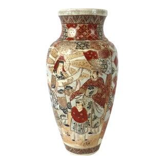 1800s Satsuma Meiji Era Japanese Ceramic Vase For Sale