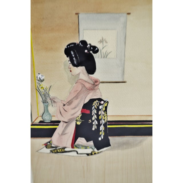 Mid 20th Century Vintage Framed Ink & Watercolor Japanese Geisha Painting - Artist Signed For Sale - Image 5 of 13