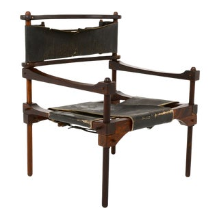 Rare Perno Chair Distressed Leather Safari Lounge by Don Shoemaker For Sale