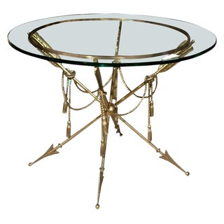 Glass Top Bronze Base End Table Attributed Jansen For Sale