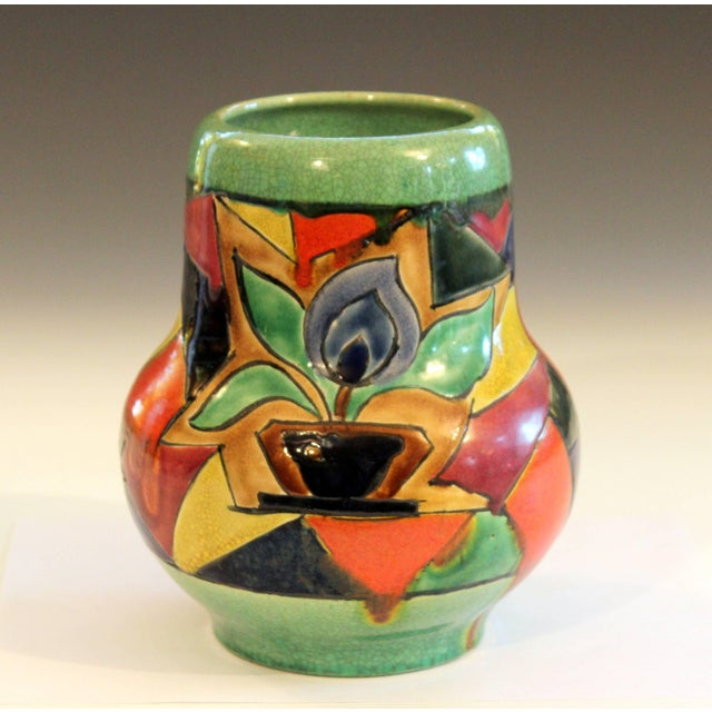 Art Deco Awaji Pottery Art Deco Japanese Mock Cubist Fractured Picture Plane Vase Signed For Sale - Image 3 of 10