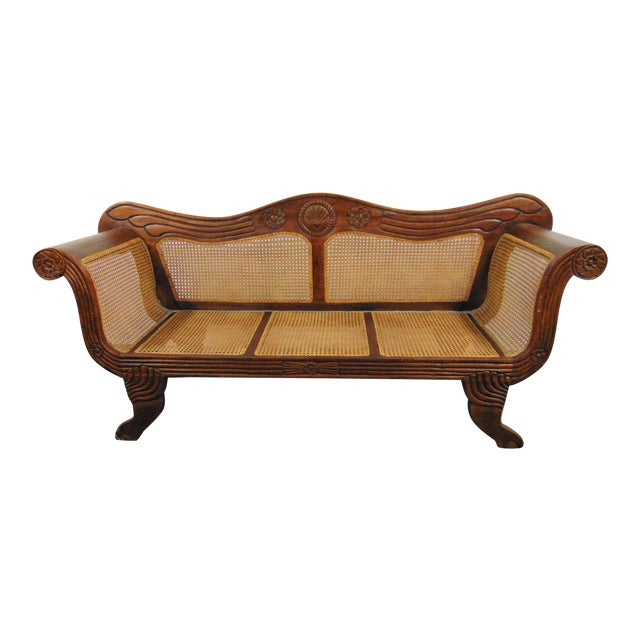 Anglo Indian Carved Mahogany & Cane Sofa For Sale