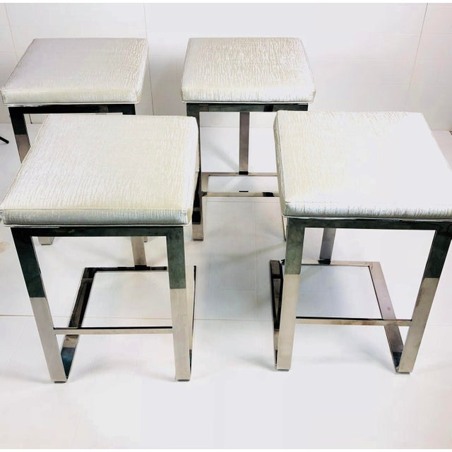 2010s Contemporary Century Furniture Stainless Steel Bar Stools - Set of 4 For Sale - Image 5 of 10
