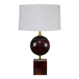 French Aubergine Enameled Table Lamp by Maison Barbier For Sale
