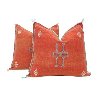 Moroccan Sabra Cactus Silk Pillow Cover - a Pair For Sale