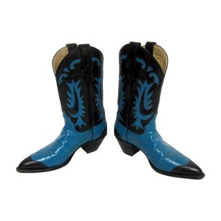 Vintage Turquoise Cowboy Cowgirl Boots