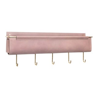 Moses Nadel Ledger Wall Pocket with Five Hooks in Taupe/Brass For Sale