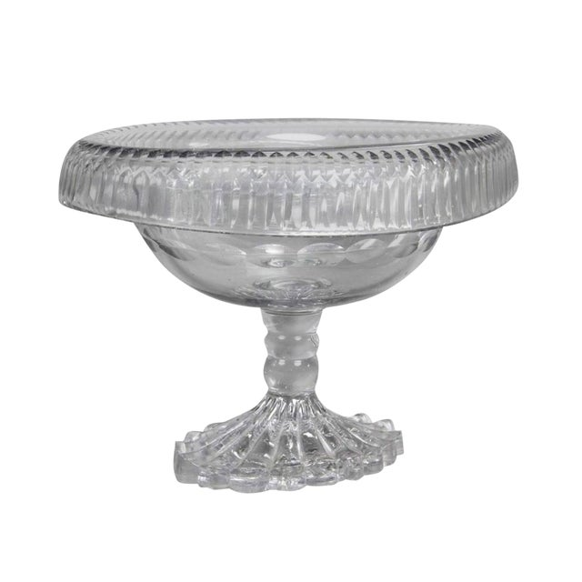 George III Irish Cut Glass Footed Compote For Sale
