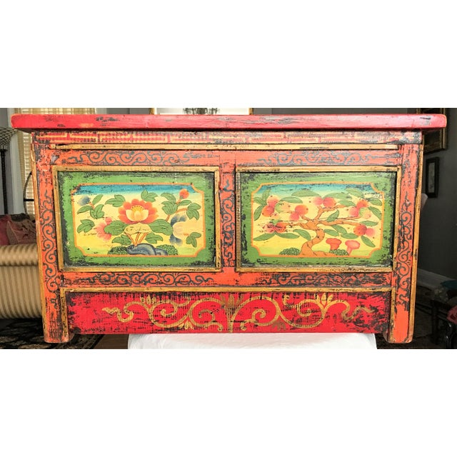 Red Antique Hand Painted Tibetan Chest For Sale - Image 8 of 10