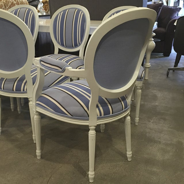 Blue & White Striped Cameo Chairs - Set of 8 - Image 6 of 10