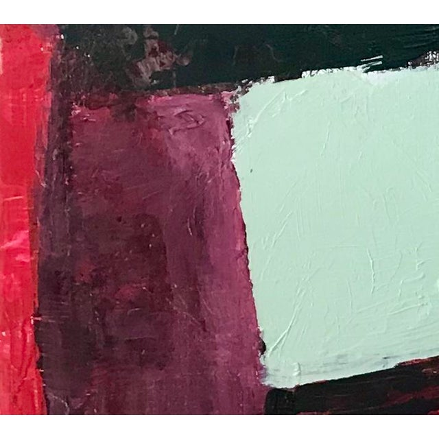This is a large bold acrylic painting on wood panel with large vibrant shapes that suggest all kinds of associations. I...