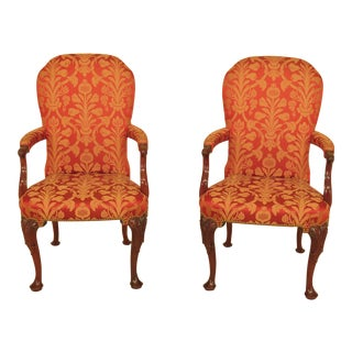 1990s Vintage Kindel Upholstered #84-075 Mahogany Arm Chairs- A Pair For Sale