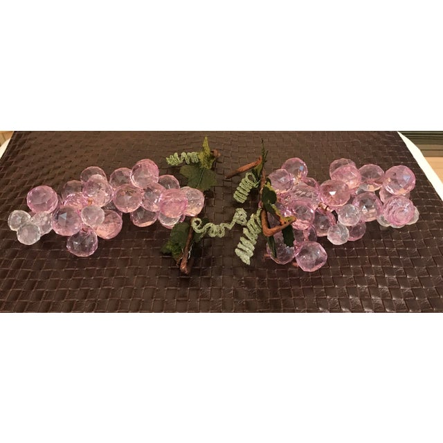 Pink & White Faceted Lucite Grapes - A Pair For Sale - Image 4 of 8