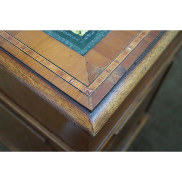 English Yew Wood Leather Top Executive Desk For Sale - Image 10 of 10