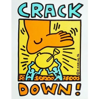 """1986 Keith Haring """"Crack Down"""" Poster For Sale"""