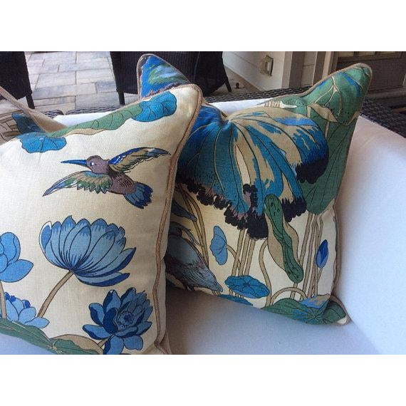 "G. P. And J Baker ""Nympheus"" Aqua Pillows - a Pair For Sale - Image 4 of 5"