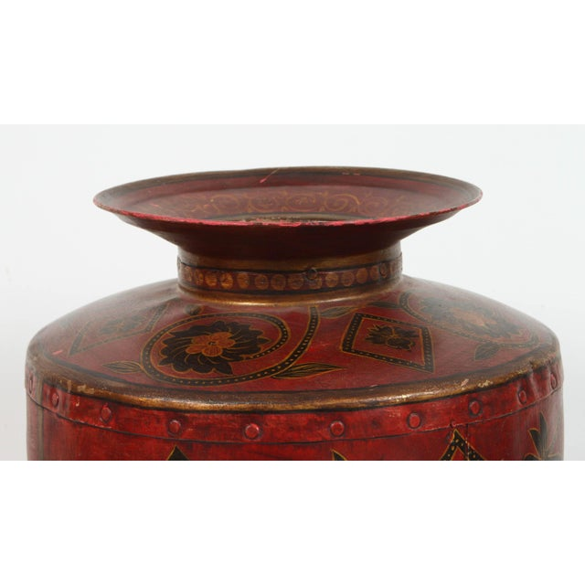 Asian Kashmiri Indo-Raj Red Hand-Painted Metal Jar Vessel For Sale - Image 3 of 8