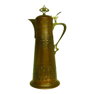 Art Nouveau Patina'd Copper Tankard For Sale