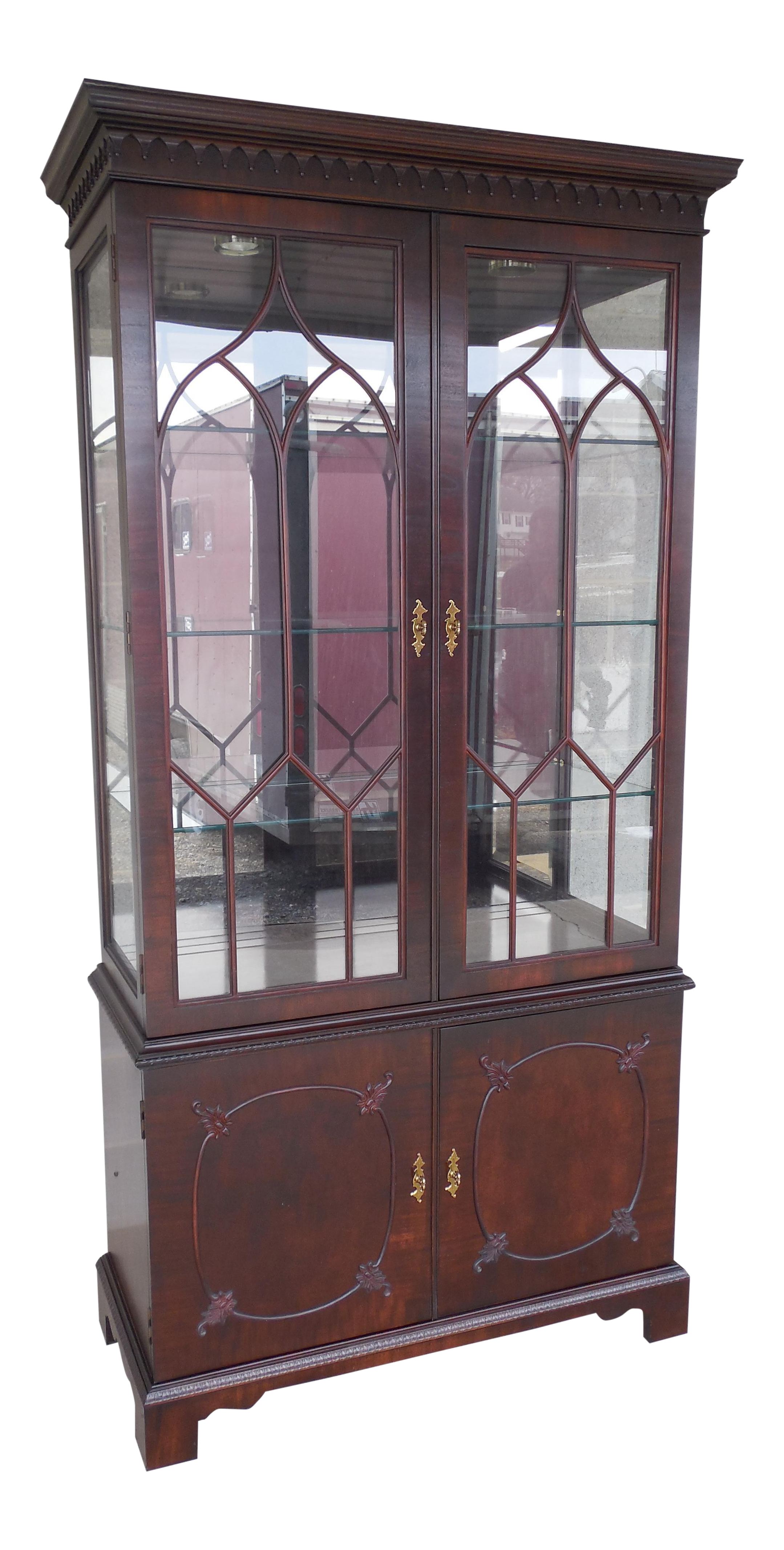 Mahogany Chippendale Style Lighted China Cabinet