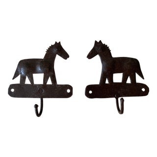 1980s Metal Horse Hooks - a Pair For Sale