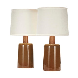 Griffin Lamp in Buff Glaze With White Oak Neck - a Pair For Sale