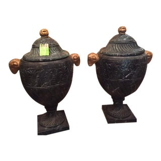Green Italian Urns - A Pair For Sale