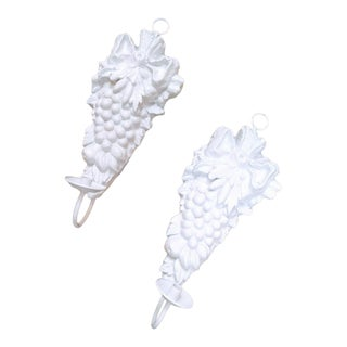 A Pair of Large White Fruit Plaster Wall Candle Sconces For Sale