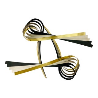 Mid Century Jere Metal Ribbon Sculpture Wall Hanging Art For Sale